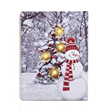 "NIKKY HOME 12"" x 16"" Holiday LED Lighted Canvas Wall Art Prints with Snowman and Christmas Tree Picture Snow Covered Winter Scene Decor"