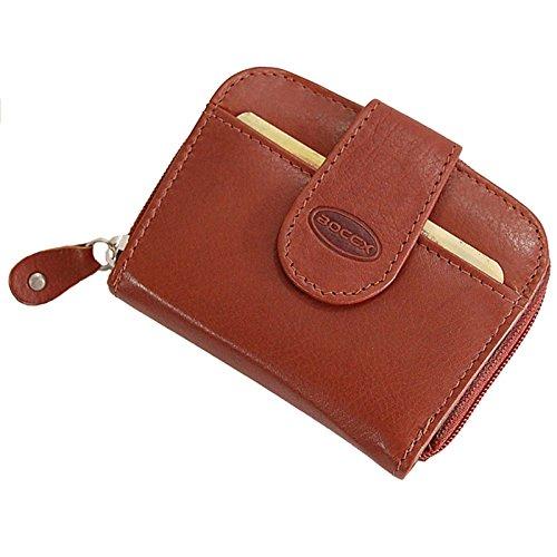 BOCCX ausgefallene Damen-Geldbörse Kleiner Geldbeutel aus Leder Portemonnaie in hochwertiger Verarbeitung 10031 (Braun)