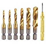 HWW-Drills, 1 Juego de 1/4 Pulgadas HSS Espiral vástago Hexagonal combinación Taladro Tornillo Tap bit Set (M3-M10) con Cambio automático con Resorte Punch Tool Center