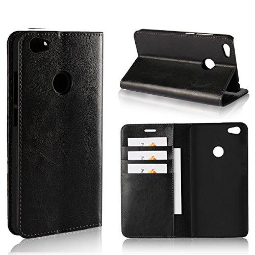 Copmob Hülle Xiaomi Redmi Note 5A,Premium Flip Brieftasche Leder Schutzhülle,[3 Kartensteckplätze][Bracket-Funktion][Stoßfestes TPU],Ledertasche Handyhülle für Xiaomi Redmi Note 5A - Schwarz
