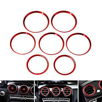 iJDMTOY 7pc Sports Red Aluminum Air Conditioner Vent/Opening Outer Trim Decoration Covers Compatible With 2015-up Mercedes W205 C180 C250 C300 C350 C400 C63 AMG 2016-up GLC Class etc