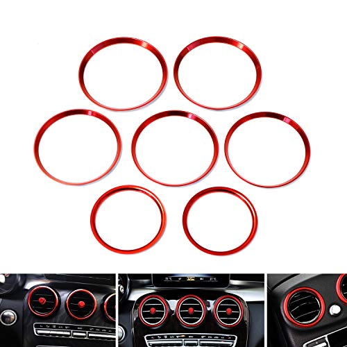 iJDMTOY 7pc Sports Red Aluminum Air Conditioner Vent/Opening Outer Trim Decoration Covers Compatible With 2015-up Mercedes W205 C180 C250 C300 C350 C400 C63 AMG, 2016-up GLC Class, etc