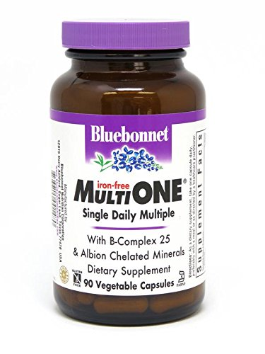 Bluebonnet Nutrition Multi One (Iron Free) Vegetable Capsules, Complete Full Spectrum Multiple, B Vitamins, General Health, Gluten Free, Milk Free, Kosher, 90 Vegetable Capsules, 3 Month Supply