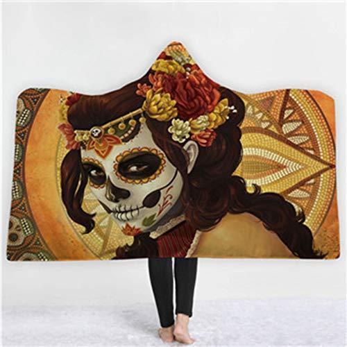 Manta de Lana con Capucha de Felpa con Estampado 3D de Anime para Adultos y niños sofá hogar cálido Picnic Viaje Mantas de Lana usable 150 x 200CM