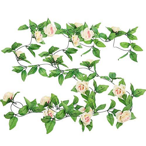 FLYUYO Künstliche Rose Rattan Wandbehang Seidenblumengirlande Gefälschte Blumen Decke Girlande Für Hotel Party Grünes Blatt Rattan Hochzeitsbogen Party Blumen Champagner Handwerk Kunst Pflanzen Dekor