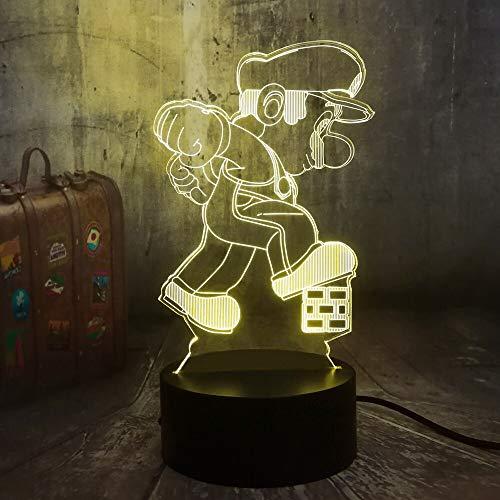 hqhqhq Game Bros. Step on Cube 3D Illusion LED Night Light 16 Colores Lámpara de Escritorio Juguetes para niños Lámpara de cumpleaños con Mando a Distancia -1314