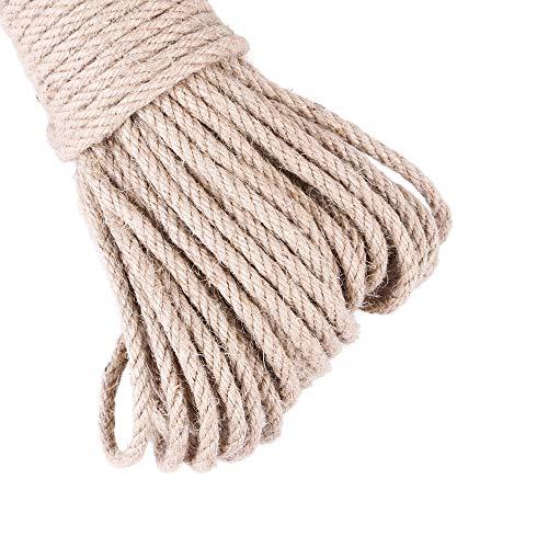 CAMITER Sisalseil für Kratzbaum 6mm (50 Meter) Seil, Kratzsaule Katzenbaum,Katzen Natürlich Sisal Seil,Geeignet für Gartendekoration,Katzen Zubehör (50M)