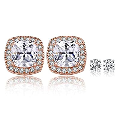 SUPRAONE 18K Rose Gold Plated Square Cubic Zirconia Stud Earrings 6mm for Women Teen Girls Jewelry