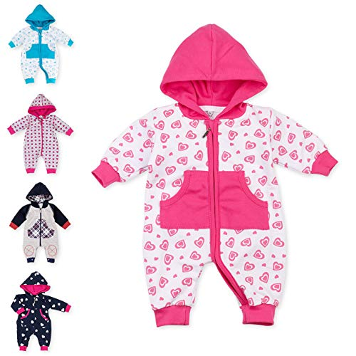 Baby Sweets Baby Overall Jumpsuit mit Kapuze für Mädchen in Pink Weiß im Herz-Motiv/Babystrampler als Overall für Baby und Kleinkind...