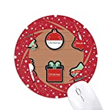 Weihnachtssymbol Weihnachtssymbol Cartoon Icon Wheel Maus Pad Round Red Rubber