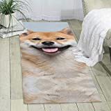 Smiling Shiba Inu Single-Sided Print Carpet, Ultra Soft Area Rug Non-Slip Rugs, for Bedroom/Living Room/Bathroom/Sofa /Porch/Kitchen, Easy to Clean