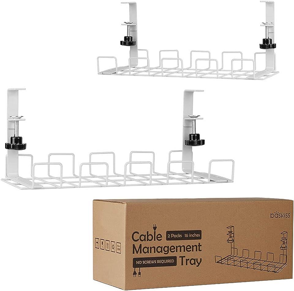 Baskiss Kabelkanal Schreibtisch, 40 cm, Stabiler Tisch Kabelhalter für Kabelordnungr, Metallene Kabelwanne Unter Schreibtisch für Schreibtische, Büros und Küchen, 2 Stück (Weiß)