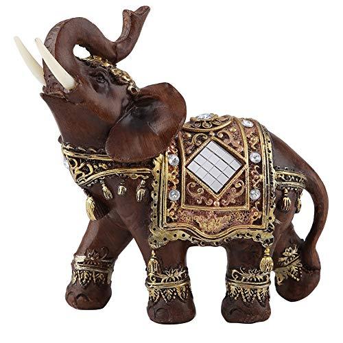 1pc Glück Reichtum Elefant Statue Skulptur Feng Shui Holzmaserung Home Desktop Dekoration Geschenk(Large)