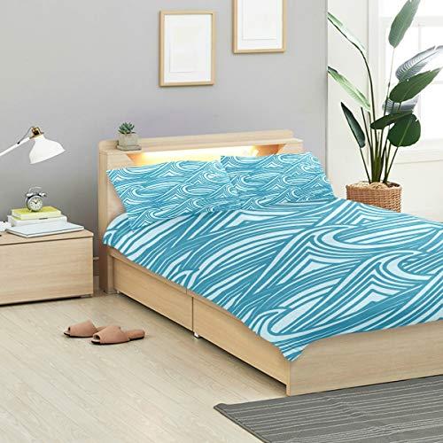 MONTOJ Minimalistisches Azurblau Wellenmuster Bettwäsche-Set Standard Tagesdecke Twin Size Bezug Kinder Bettbezug-Set 3-teilig Tagesdecke