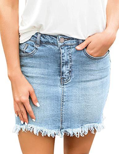 luvamia Women's Casual Mid Waisted Washed Raw Hem Pockets Denim Jean Short Skirt Blue Size Medium