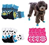 Bgfuni Calcetines para Perros, Calcetines Antideslizantes para Perros Gatos, 12pcs Calcetines para Mascotas para el Uso en Interiores Ajuste para Perros y Gatos pequeños y medianos, 3 Estilos (M)