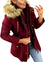 Ros1ock Women's Jackets Winter Warm Hooded Outerwear Casual Faux Fur Coat Down Jackets Military Jacket
