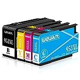 Wewant 953XL Kompatibel Ersatz für HP 953XL 953 XL Multipack Druckerpatronen Arbeiten mit HP Officejet Pro 8710 8720 8730 7720 7730 7740 8715 8725 8210 Druker (1 Schwarz, 1 Cyan, 1Magenta, 1 Gelb)