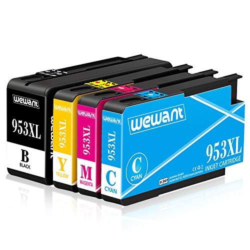 Wewant 953XL Compatibile Cartucce d'inchiostro Sostituzione per HP 953XL 953 Lavorare con HP Officejet Pro 8710 8720 7740 7720 8718 8715 8210 7730 8725 (1 Nero, 1 Ciano, 1 Magenta, 1 Giallo)