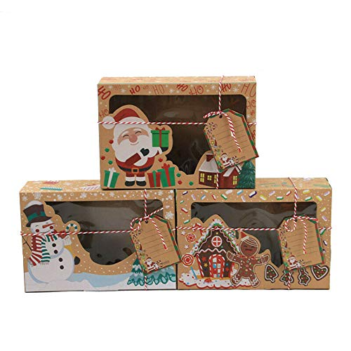 12 Pcs Christmas Cookie Boxes with Clear Window, Cake Box Packaging Kraft Paper Candy Boxes Gift Boxes, for Holiday Thanksgiving Xmas Birthday Party Supplies with Tags