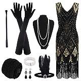 PLULON 1920 Lentejuela con Cuentas Flecos Joven a la Moda Vestido con Set de Accesorios de los años 20 (Negro y Oro)