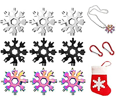Snowflake Tool, 18-in-1 Stainless Steel Snowflake Bottle Opener,Screwdriver Kit/Wrench, Valentine's Day Best Gifts for Him Husband Men Boyfriend Boys (9PACK)