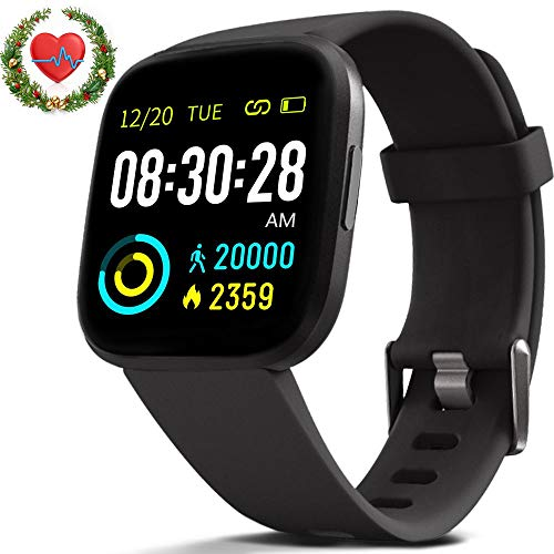 FITVII Smart Watch, Fitness Tracker with IP68 Waterproof Touch Screen Watches, Blood Pressure Heart Rate Monitor with Running Pedometer Step Counter Sleep Tracker for Women Men with iPhone & Android