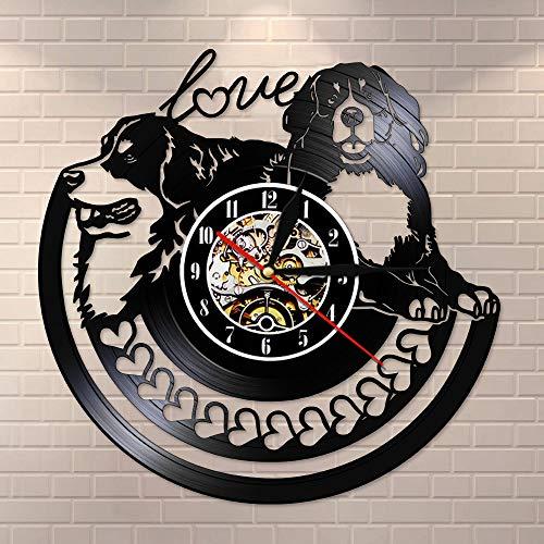 BFMBCHDJ Golden Retriever mit Liebesherzen Dekorative Wanduhr aus Musik Disc Vinyl Schallplatte Golden Retriever Puppy Dog Besitzer Geschenk