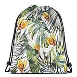 XCNGG Bolsa de gimnasia Bolsa con cordón Bolsa de viaje Bolsa de deporte Mochila escolar MochilaTropical Garden Gym Bag Travel Drawstring Backpack Men &...