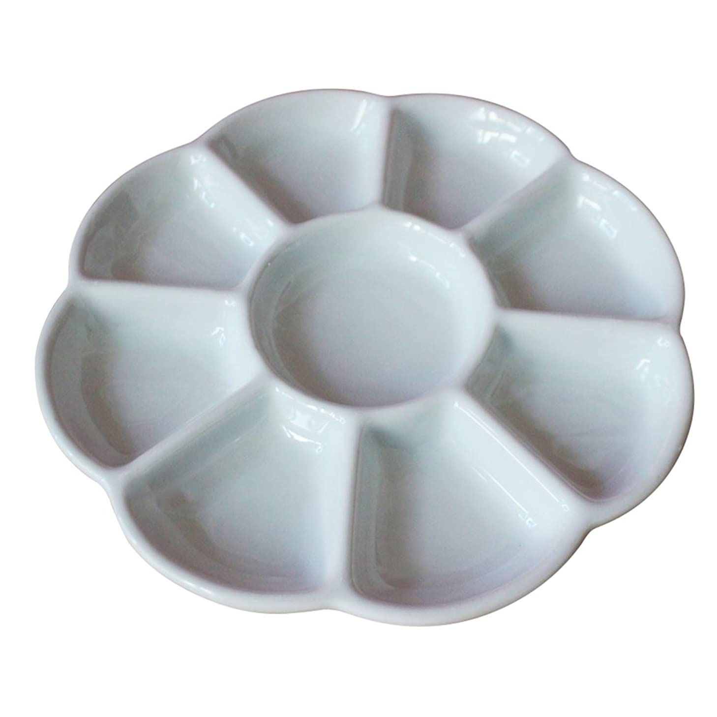 Whthteey 8 Well Porcelain Palette Wintersweet Shape Painting Mixing Trays
