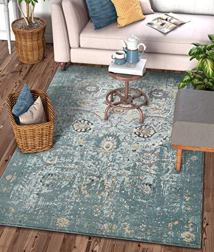 "Well Woven Elle Blue Persian Vintage Shiraz 8x11 (7'10'' x 10'6"") Area Rug Mint Blue Modern Distressed Oriental Carpet"