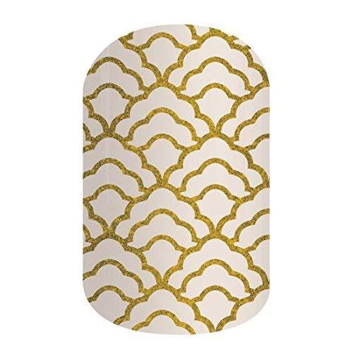 Cloud Nine - Jamberry Nail Wraps - SX201611 - Full Sheet - Gold Sparkle on White