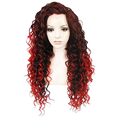 Ebingoo Auburn Lace Front Wig Red Mix Deep Brown Long Curly Lace Front Wig Free Part Synthetic Front Lace Wigs