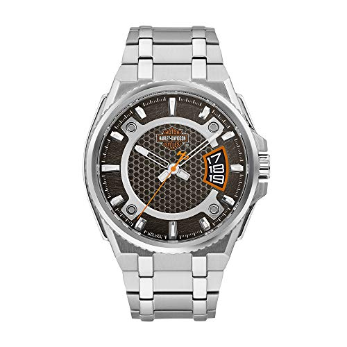 Harley-Davidson Bar & Shield Dimensional del hombres acero inoxidable reloj 76b180