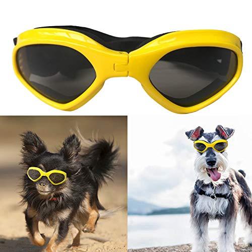 SHUIBIAN Hondenbril Fashion Huisdier Hond zonnebril Eye Wear Hond Waterdichte bescherming UV zonnebril veiligheidsbril voor kleine middelgrote honden, Medium, geel