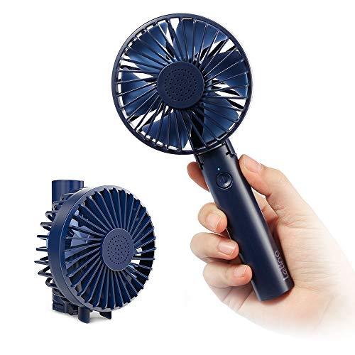 Leting Mini Ventilador de Mano Recargable con Carga USB, Plegable y Portátil de 5 Velocidad con batería 2600mAh para Actividades al Aire Libre, Azul