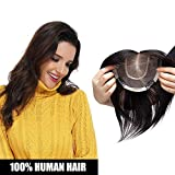 Volumateur Femme Extension a Clip Cheveux Naturel [Couleur: #1B NOIR NATUREL, 6'(15 * 15cm Silk Base)]