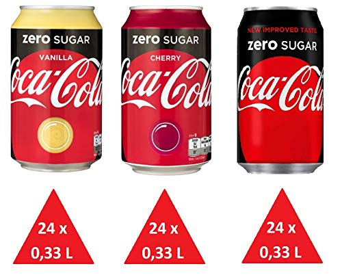 72 x Coca Cola Zero cans, dosen, canettes, latas, lattine 0,33 L (24 x zero 24 x zero cherry 24 x zero vanilla)