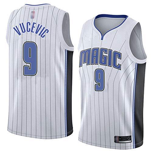 SHR-GCHAO Camisetas Sin Mangas De Camisetas De Baloncesto para Hombre, NBA Orlando Magic # 9 Nikola Vucevic/Sudaderas para Adolescentes Ocio Decoramiento Rápido,Blanco,XXL(185~190cm)