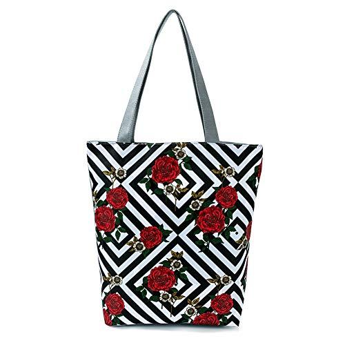 DaoRier Strandtasche Personalisierte Blumen mit Reißverschluss für Damen Umhängetasche Tasche Einkaufstasche Student Ranzen