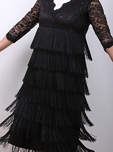 Vijiv Women's Lace Sequin Fringe Flapper Cocktail Prom Formal Eve Party Dress, Black, XX-Large