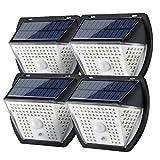GreenSun Luz Solar Exterior, Iluminación Solar para Exteriores con Sensor de Movimiento, Lámpara de Seguridad Solar inalámbrica e Impermeable para el jardín, 4 Pack