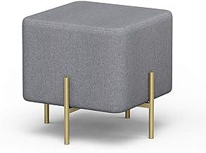 Yxsdd Ottoman Footstools Burlap Stool Modern Small Creative Iron Sofa Stool Home Stool Clothing Fitting Room Change Shoe B...