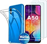 Samsung Galaxy A50 Panzerglas Hülle , [1 Handyhülle 2 Panzerglas] Schutzhülle [Ultra Dünn] Folie Glas 9H Panzerglasfolie TPU Silikon Case Cover Tasche Schale Transparent Crystal für Samsung Galaxy A50