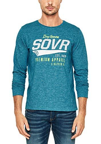 s.Oliver Herren 13.808.31.6219 T-Shirt, Türkis (Oriental Blue Melange 64w0), Large