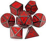 World of Dice Juego de 7 dados de metal, color negro y rojo, para Dungeons and Dragons (D&D), DSA y muchos más RPG, poliedrico, gris oscuro y rojo