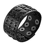 JewelryWe Mens Wide Leather Bracelets Punk Rock Cuff Band Weave Leather Bangle Bracelet, Black