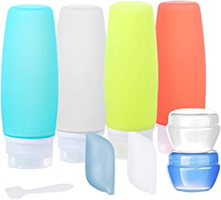 Travel Bottles Set TSA Approved, 10 Pack Leakproof BPA Free Silicone Travel Containers, Squeezable 3.4oz Travel Bottles & Accessories for Cosmetic Shampoo Conditioner Lotion Soap Liquids Toiletries