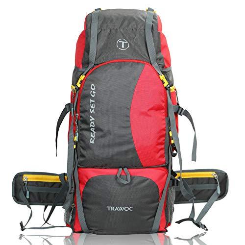 TRAWOC 60 Ltr Trekking Rucksack Travel Bag Hiking Backback, Red (1 YEAR WARRANTY)