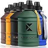 Khroom® Edelstahl Trinkflasche Sport 2,2 L - Kohlensäure geeignet & bruchfest - BPA freie Edelstahlflasche für Fitness & Freizeit | 2 L XXL Water Jug | Wasserflasche | Sportflasche (Schwarz)